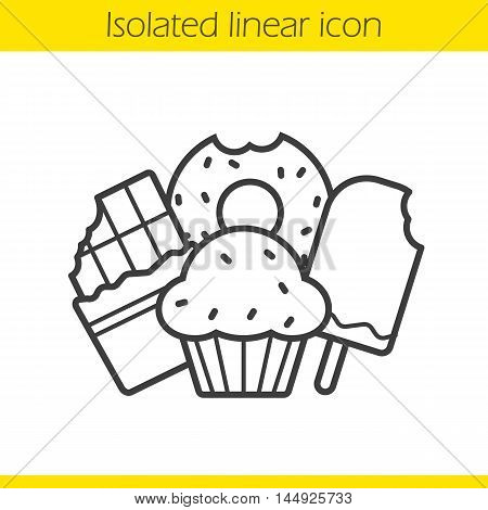 Confectionery products linear icon. Thin line illustration. Sweets. Chocolate bar, bitten doughnut, muffin with raisins and ice cream contour symbol. Vector isolated outline drawing
