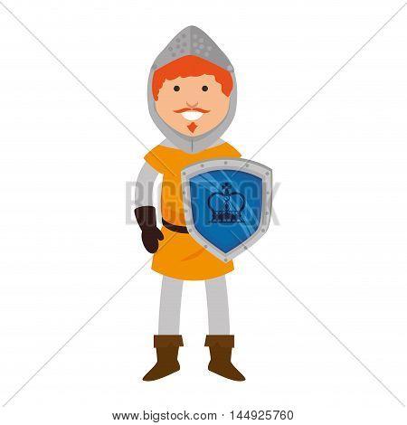 knight man smiling cartoon medieval warrior shield character vector illustration