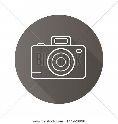 Photo camera flat linear long shadow icon. Slr camera. Vector line symbol