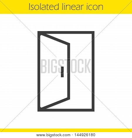 Open door linear icon. Doorway thin line illustration. Building exit contour symbol. Vector isolated outline drawing