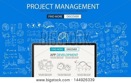 Project Management concept with Doodle design style :people inteview, skill testing, clear selection. Modern style illustration for web banners, brochure and flyers.