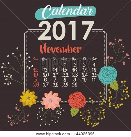 2017 november year calendar flowers floral garden planner month day icon. Colorful and Flat design. Vector illustration