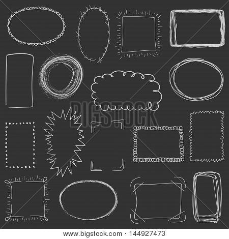 Collection Of Decorative White Hand Drawn Frames On Grey Background. Simple, Grunge, Sketch And Dood