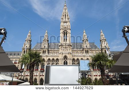 Vienna / Austria - July 20th 2014: frontal of Vienna City Hall towers during 2014-th film festival