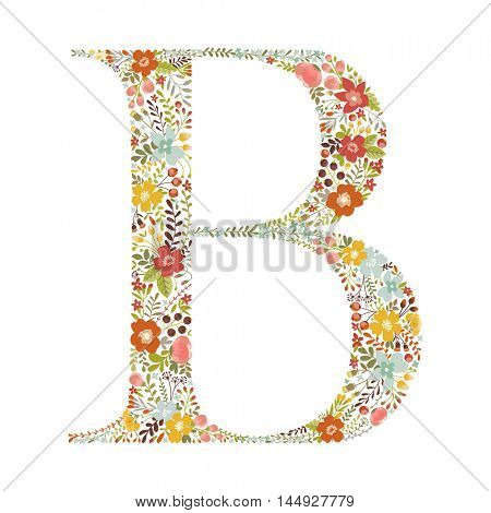 B letter with decorative floral ornament