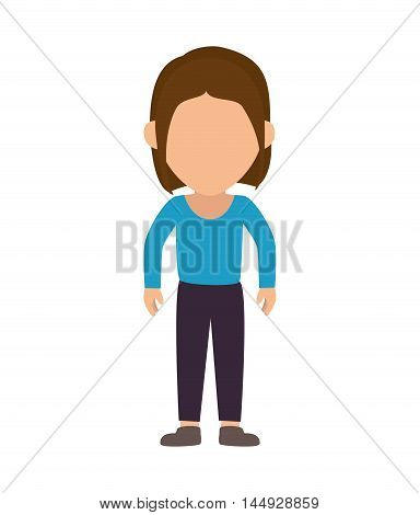teenager girl cartoon female avatar wearing casual clothes vector illustration