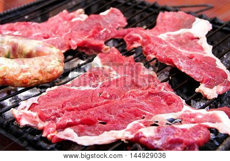 bbq, grill, barbecue, sausages, meat, grilled, summer, food,