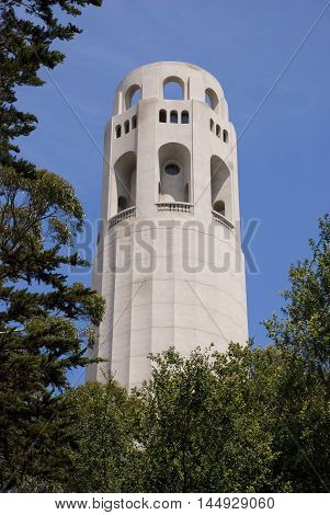 Coit tower on Telegraph Hill in San Francisco, California