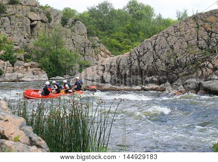 Rafting on Southern Bug river in Ukraine