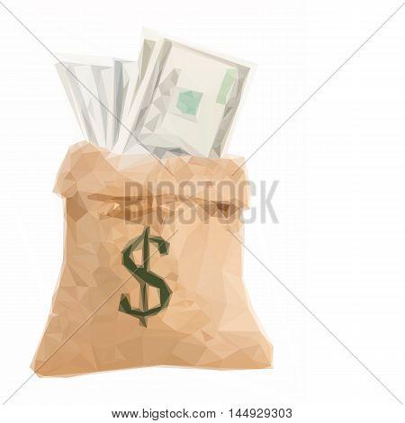 Low poly illustration dollar money in sack bag