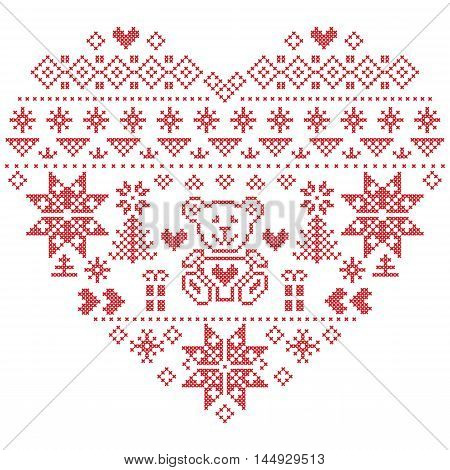 Heart Shape Scandinavian Printed Textile  style and inspired by  Norwegian Christmas and festive winter seamless pattern in cross stitch with Christmas tree, snowflakes, bear , hearts on white background