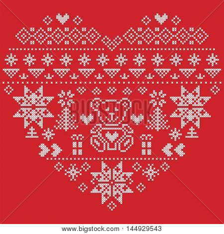 Heart Shape Scandinavian Printed Textile  style and inspired by  Norwegian Christmas and festive winter seamless pattern in cross stitch with Christmas tree, snowflakes, bear , hearts on  red background