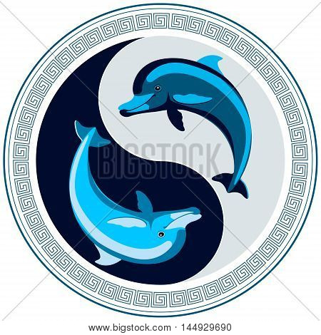 Dolphins forming a Yin-Yang symbol, a circular ornament of a