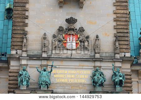 Hamburg town hall - details on wall