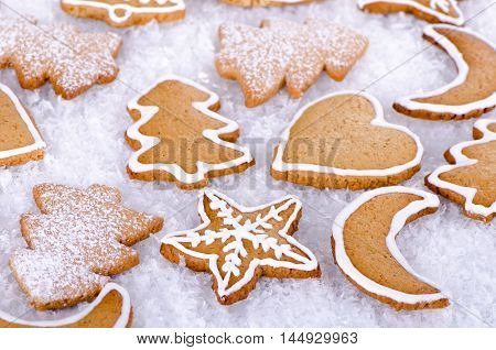 Christmas cookies gingerbread cookies on white background
