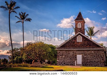 Tropical Church with Palm Trees, Hawaii, USA