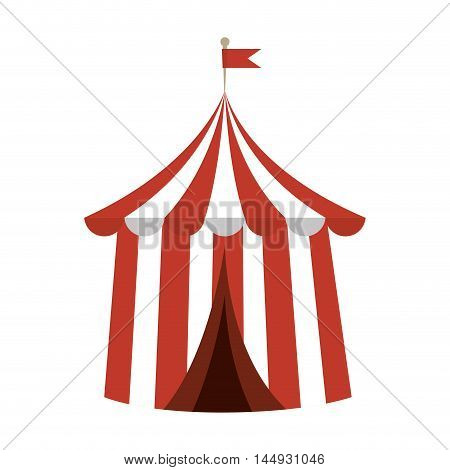 circus carnival tent red and white striped funfair festival vector illustration