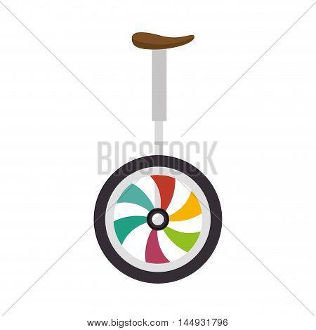 unicyle colorful wheel pedal fun transport circus gymnastics vector illustration