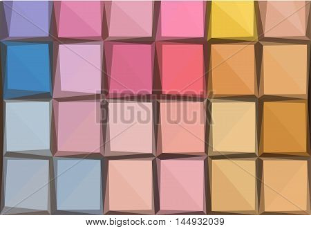 Low poly illustration background of colorful blue, pink and yellow eye shadows palette