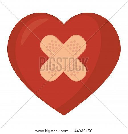 heart band aid fix  love passion romance vector illustration