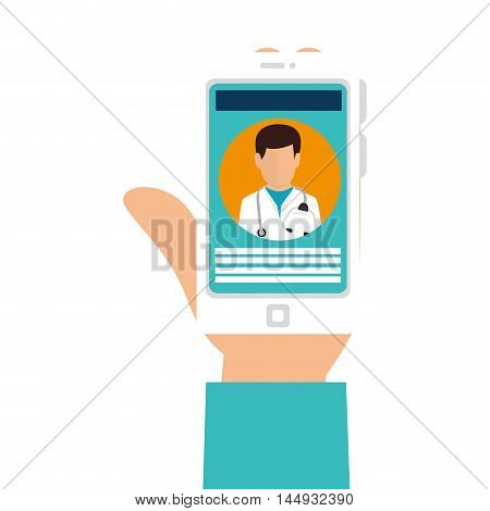 hand holding smartphone medical doctor application technology device  vector illustration