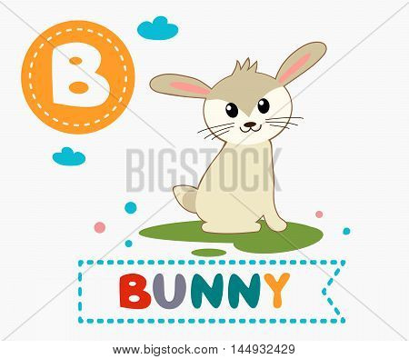 Hand Drawn Letter B And Funny Cute Bunny