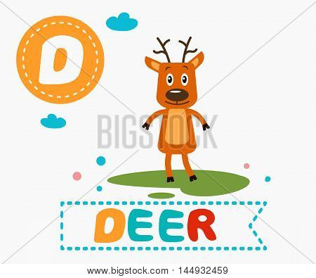 Hand Drawn Letter D And Funny Cute Deer
