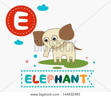Hand Drawn Letter E And Funny Cute Elephant