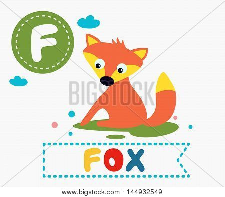 Hand Drawn Letter F And Funny Cute Fox