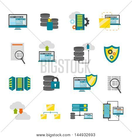 Colored isolated flat datacenter icon set with equipment tools required to operate of datacenter vector illustration
