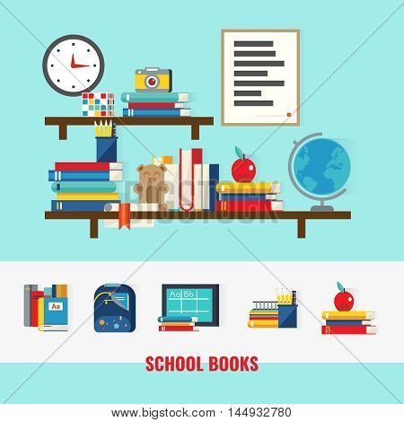 School books concept with educational accessories on brown shelves and set of learning icons isolated vector illustration