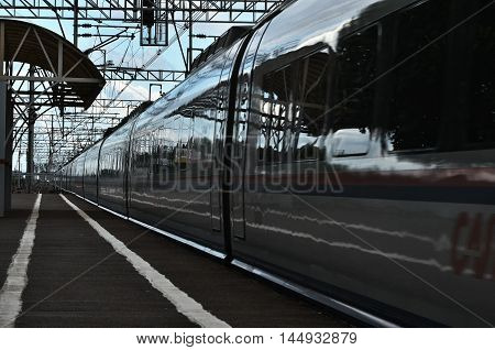 Fast train passing by the empty platform
