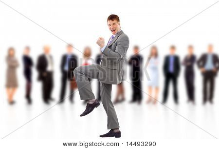 businessman shouting loudly with his arms widened