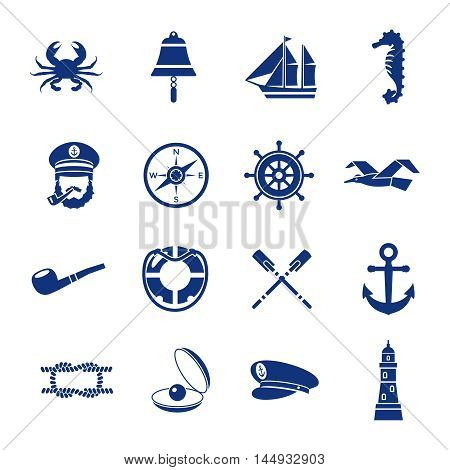 Isolated nautical icon set in dark blue with elements of underwater world and vessel vector illustration