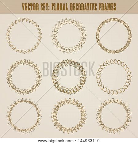 Vector set of decorative hand drawn elements, border, frame with floral elements for design of invitation, greeting, wedding, gift card, certificate, diploma, voucher. Page decoration in vintage style
