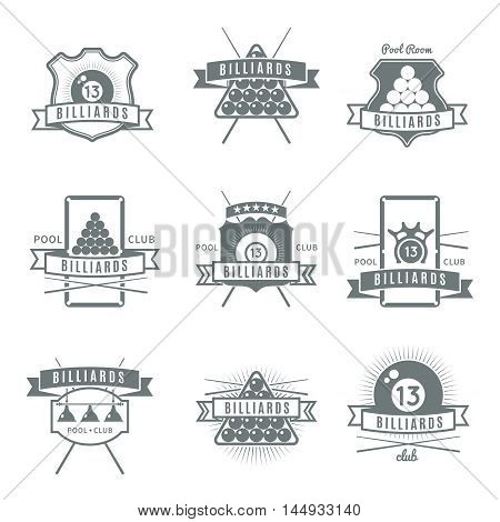 Gray and isolated billiards label set with pool room and club descriptions vector illustration