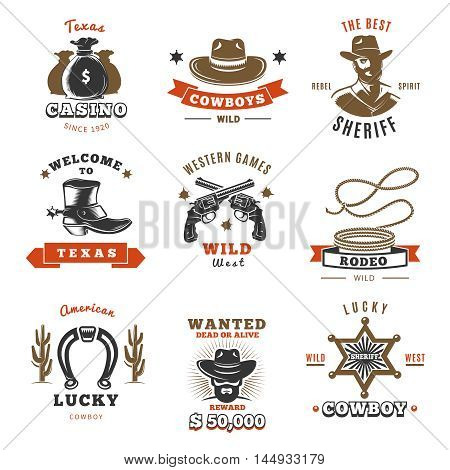 Colored vintage sheriff label set with ribbons and cowboys wild rodeo wild western games and different descriptions vector illustration