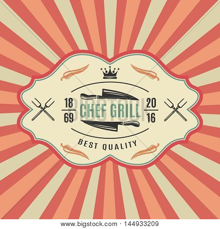 Big retro bbq label with chief grill best quality and colored striped background vector illustration