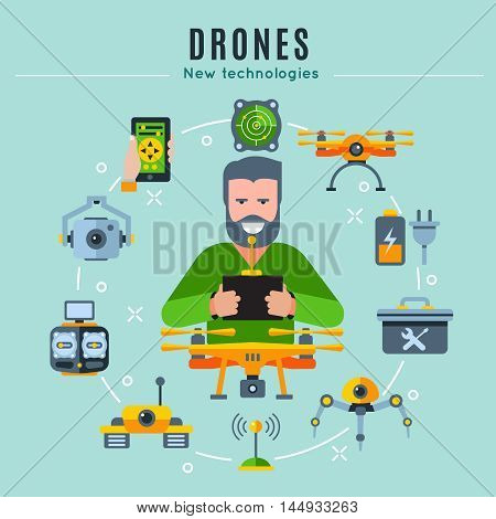 Drones colored composition with playing man at the center and isolated icon set around vector illustration
