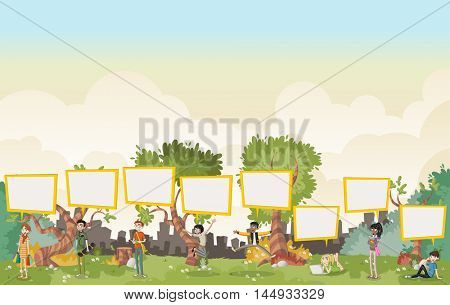 Cartoon teenagers talking with speech bubbles in on beautiful park. Nature landscape.