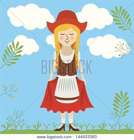 woman german germany cartoon avatar cloth traditional oktoberfest icon. Colorful and Flat design. Vector illustration