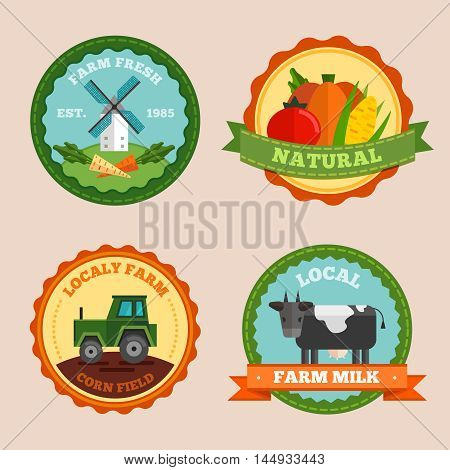 Flat farm emblem set with farm fresh natural locally farm corn field and local farm milk descriptions vector illustration