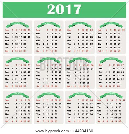 Calendar for 2017 in green color on a white background. Vertical orientation. Week starts Sunday. Simple vector template
