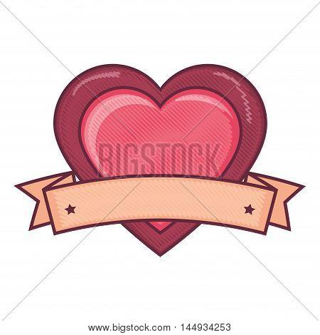 pink heart love passion label romance passion vector illustration