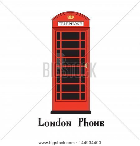 London city phone Famous London red telephone box. English landmark The Great Britain sightseeing design element. Travel England icon