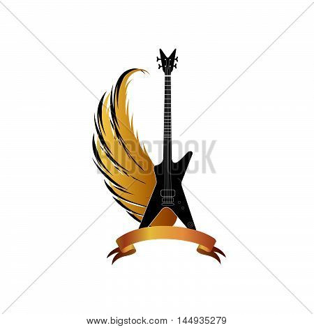 Musical fest sing with winged guitar . Rock music symbol. Electric guitar with wings and bow ribbon for text.