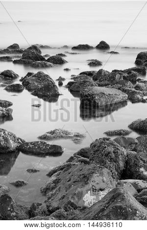 sea and long exposition of the water in Ostia
