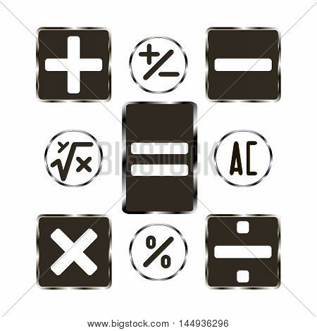 Vector illustration of logo buttons calculator.Isolated the drawing consists of symbols,plus,minus,division,multiplication,percentage,root,closeup on white background.Icon for school,study,mathematics