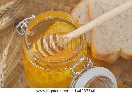 Honey with wood stick close up .