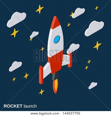 Rocket launch, project startup flat isometric vector illustration